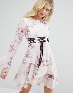 Платье с цветочным принтом и отделкой в стиле корсета Missguided - Фиолетовый