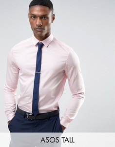 Узкая атласная рубашка розового цвета ASOS TALL WEDDING - Розовый