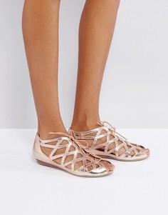 Кожаные сандалии с вырезами Office - Золотой