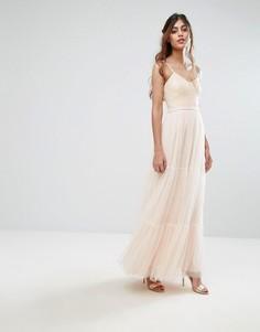 Ярусное платье макси из тюля Little Mistress - Розовый