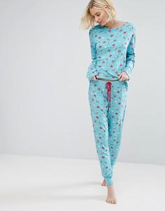 Пижамный комплект с единорогами и радугой Chelsea Peers - Мульти