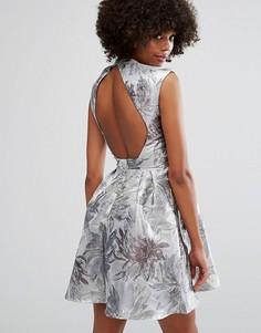 Жаккардовое платье с удлиненным краем Little Mistress - Серебряный