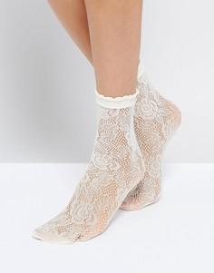 Кружевные носки Monki - Кремовый