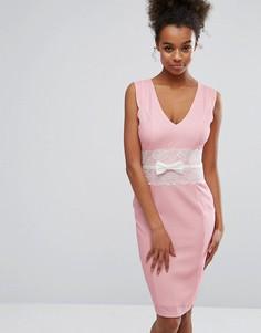 Розовое облегающее платье с кружевом Paper Dolls - Розовый