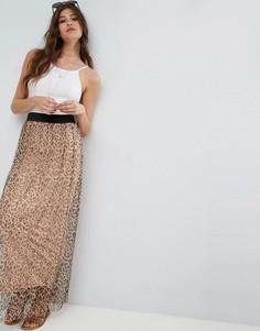 Сетчатая юбка макси со звериным принтом ASOS - Мульти