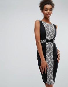 Черно-розовое платье с кружевными вставками Paper Dolls - Черный