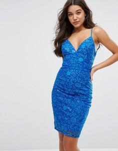Кружевное платье-футляр с отделкой пайетками Michelle Keegan Loves Lipsy - Синий