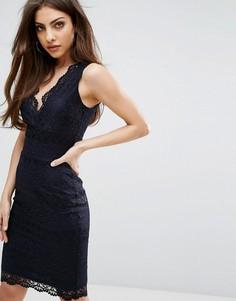 Облегающее кружевное платье миди Lipsy - Темно-синий