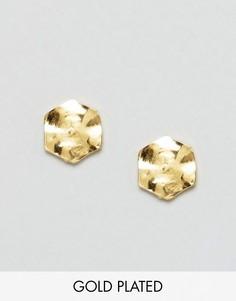 Позолоченные серьги-гвоздики в форме шестигранника Gorjana - Золотой
