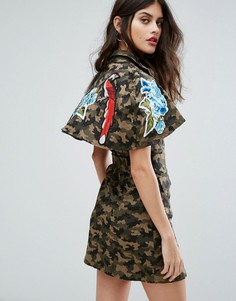 Камуфляжное платье с вышивкой Non-Blonde - Мульти