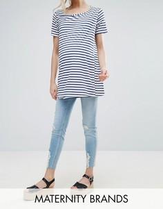 Зауженные джинсы с посадкой над животом и рваной отделкой на коленях New Look Maternity - Синий