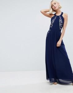 Платье макси с кружевной отделкой и открытой спиной Little Mistress - Темно-синий
