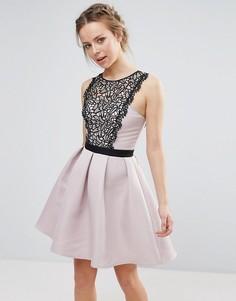 Платье мини с кружевной вставкой на груди Little Mistress - Бежевый