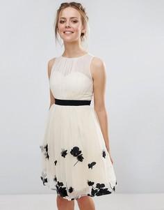 Платье мини с аппликацией Little Mistress - Бежевый