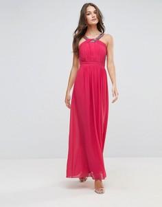 Шифоновое платье макси с отделкой Little Mistress - Розовый