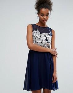 Платье-трапеция с вышивкой Little Mistress - Темно-синий