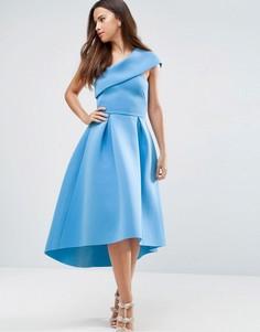 Приталенное платье миди на одно плечо с удлиненным кроем сзади ASOS - Синий