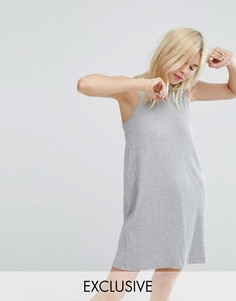 Платье мини в рубчик без рукавов Monki - Серый