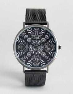 Часы с черным сетчатым ремешком и принтом пейсли Reclaimed Vintage - Черный