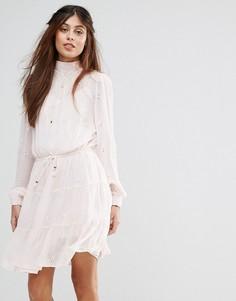 Платье с присборенной юбкой и ажурной вышивкой Vila - Розовый