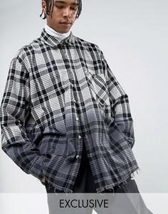 Черная фланелевая oversize-рубашка в клетку с эффектом деграде Reclaimed Vintage Inspired - Черный