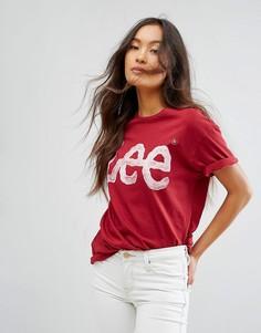 Футболка бойфренда с логотипом Lee - Красный