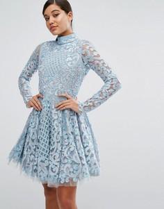 Короткое приталенное платье с декоративной отделкой A Star Is Born - Синий