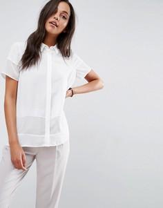 Блузка с короткими рукавами и прозрачными вставками ASOS - Белый