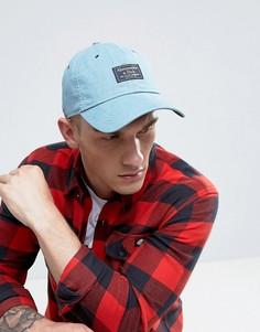 Светло-синяя саржевая кепка с логотипом-накладкой Abercrombie & Fitch - Синий