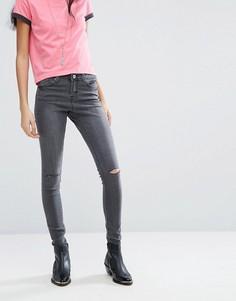 Зауженные джинсы с рваной отделкой Brave Soul Anna - Серый