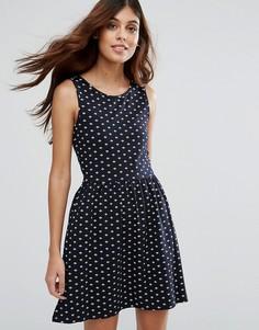 Короткое приталенное платье с принтом Only Live Love Niella - Темно-синий