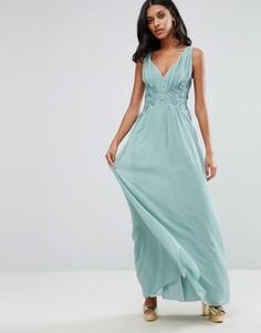 Платье макси с кружевом на талии Little Mistress - Зеленый