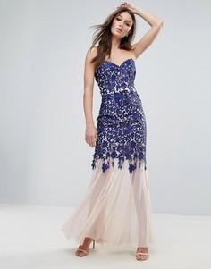 Платье макси с кружевной отделкой Lipsy - Темно-синий