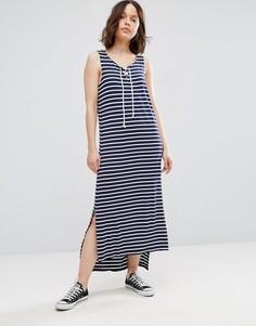 Платье макси в полоску со шнуровкой Brave Soul - Темно-синий