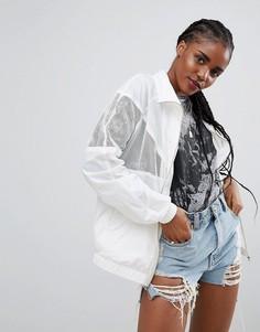 Куртка-дождевик с сетчатыми вставками ASOS - Белый