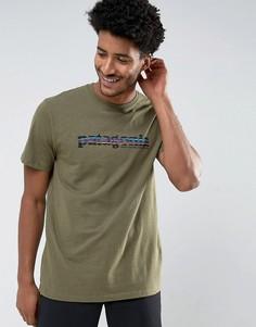 Зеленая меланжевая футболка классического кроя с принтом Patagonia - Зеленый