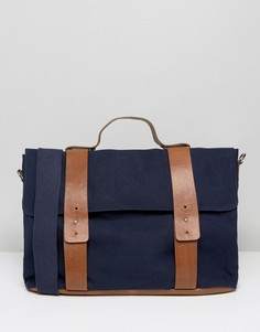 Темно-синяя парусиновая сумка-сэтчел с контрастными ремешками ASOS - Темно-синий