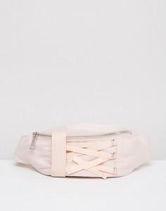 Сумка-кошелек на пояс со шнуровкой ASOS - Розовый