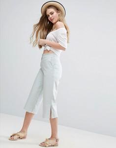 Льняные брюки с широкими штанинами и необработанными кромками ASOS - Мульти