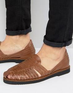 Светло-коричневые кожаные плетеные сандалии KG By Kurt Geiger - Рыжий
