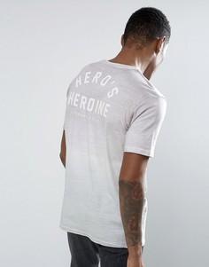 Футболка с эффектом деграде и принтом на спине Heros Heroine - Розовый