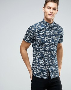 Рубашка с короткими рукавами и принтом Produkt - Темно-синий