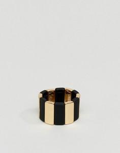 Золотистое кольцо с черными полосками ASOS - Мульти