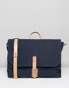 Темно-синяя сумка-сэтчел с кожаной отделкой ASOS - Темно-синий