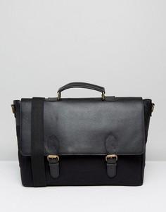 Черная сумка-сэтчел из кожи и парусины ASOS - Черный