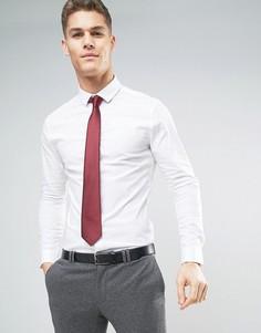 Белая рубашка скинни с бордовым галстуком ASOS - СО СКИДКОЙ - Белый