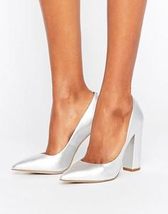 Туфли цвета металлик на блочном каблуке Steve Madden Primpy - Серебряный