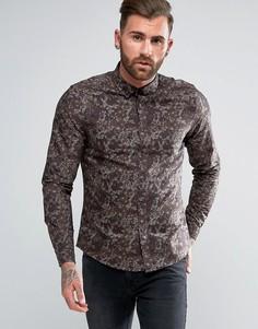 Рубашка стандартного кроя с камуфляжным принтом ASOS - Коричневый