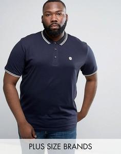Облегающая футболка-поло с окантовкой Le Breve PLUS - Темно-синий