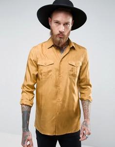 Горчичная шелковая рубашка классического кроя ASOS - Желтый